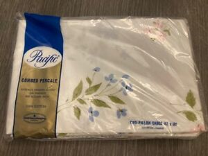 Vintage Pacific Combed Percale Cotton Pillowcases Flower Print NIB
