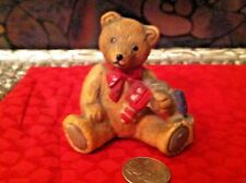 Flambro Porcelain Teddy Bear Playing With His Train ~Hand-Painted~ Vintage