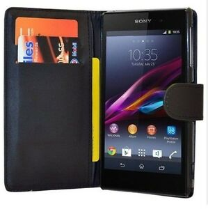 black Wallet Leather Flip plain Case with Card Slots For Sony Xperia Z3 UK POST