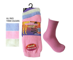 3 Pairs Ladies chunky Thermal Boot Socks Extra Thick Heat Hiking Winter Warm 4-7