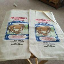 2 Vtg 6 LB McDobbin's Foal Starter Cloth Blue Ribbon Feed Sack Bags Advertising