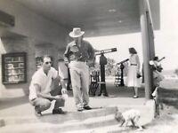 Vintage Arkansas Tourist Telescope Deck Black White Picture Men On Steps Baby