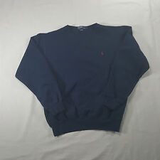 Polo Ralph Lauren Navy blue Sweatshirt MEDIUM red pony crewneck cotton blend VTG