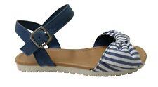 Wonder Nation Girls Denim Blue Stripe Sandals With Ankle Strap Size 4 Bow Tie