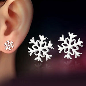 SALE Silver Plated 925 Snowflake Star Simple Solid Christmas Plain Stud Earrings