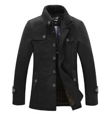 Mens Casual Wool Blend Jackets Pea Coat Winter Trench Overcoat Stand Collar Hot