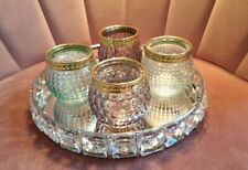 NEW Crystal Mirrored Silver Tray & 4 Tealight Candle Holders Centre Piece Decor