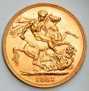 HIGH GRADE 1887-M (Melbourne) Queen Victoria St. George Reverse Gold Sovereign