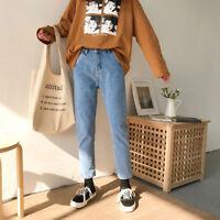 Autumn Winter Women Korean High Waist Casual Denim Jeans Straight Pants Trousers