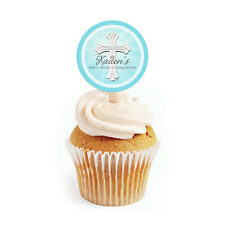 12 First Communion Baptism Confirmation 2 inch Round Cupcake Toppers