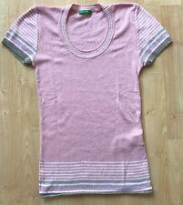 Pullover Baumwollpullover rosa/ mehrfarbig kurzarm Benetton Größe S gebraucht