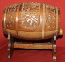 Vintage Folk Carving Wood  Wine Brandy Keg With Stand