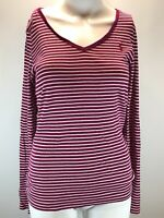 Ralph Lauren Sport Womens Striped Long Sleeve Top Size 10 Medium P2P 15.5 Inches