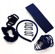 33 Piece Navy Blue Hair School Set Kids School Hair Bobbles Clips Scrunchie