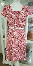 Capture jersey red rose dress.Sz14.Lace trim.Stretchy.As new