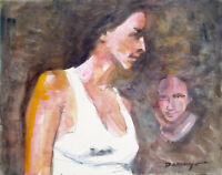 """Original, Signed 2-Sided Watercolor """"IN MY THOUGHTS"""" & NUDE, Carlos Durazo, 2006"""