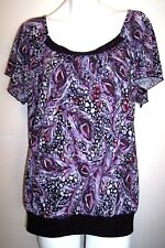 Suzie in the City Top 3X Artsy Purple Stretch Knit Tunic Shirt Blouse Bust 52