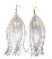 Gold Real Grey Peacock Feather Earrings Drop Long Big Hook Boho Dangle Vtg 856