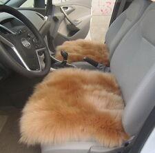 2PCS Genuine Sheepskin Long Wool Car Seat Covers 18'' Brown MT29