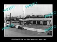 OLD LARGE HISTORIC PHOTO OF NEWCASTLE WEST NSW, AMPOL OIL SERVICE STATION c1950