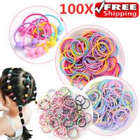 100X Hair Ties Ponytail Holder Elastic Rope Girl Kid Head-Band Hairbands Colors