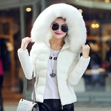 Women Winter Down Cotton Warm Jacket Fur Collar Hooded Coat Parka Ladies Outwear
