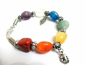 Jet Unique Charms Bracelet Chakra Balancing Tumbled Stones Gift Healing A++ In.