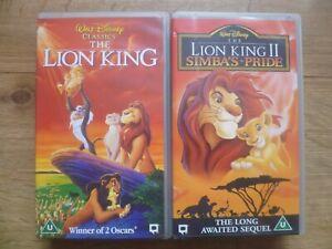2 WALT DISNEY CLASSICS.THE LION KING 1& 2.VHS VIDEO TAPES.TESTED.V.G.C
