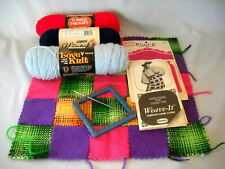 Vintage Weave-It hand Loom w Woven Piece / Yarn Spools / Needle / Instructions