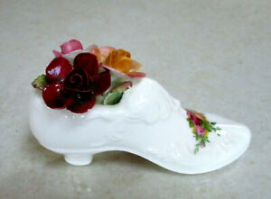 """ROYAL ALBERT   """"Old Country Roses""""   Shoe with Applied Roses   A/F Condition"""