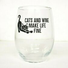 Cats & Wine Make Life Fine stemless Wine Glass-Perfect Cat Lover Gift