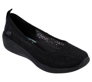 Skechers NEW Arya Airy Days black crochet style low wedge comfort shoes sz 3-8