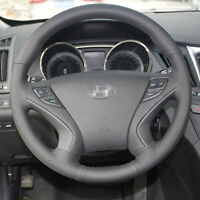 Grey Leather Steering Wheel Stitch on Wrap Cover For Hyundai Sonata #ZW20