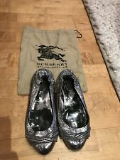 Burberry Silver Ballerinas Size UK7/Eur40