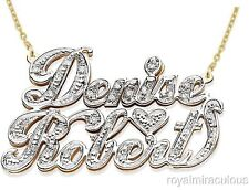 Personalized 2 Name 0.25 CTW Diamond Nameplate Necklace Yellow Gold Plated.