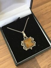 "Beautiful Vintage 18"" Marked Sterling Silver & Tiger's Eye Necklace 8.8gr"