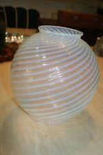 """Murano Art Glass Lamp Shade Blue Swirl Italy 5 1/4"""" Neck"""