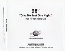 """98º 98 DEGREES """"GIVE ME JUST ONE NIGHT HEX HECTOR MIX"""" PROMO CD ACETATE / LACHEY"""