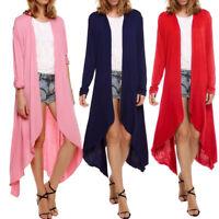 Summer Women's Coat Solid Slim Long Cardigan Open Front Casual Jacket Sweater