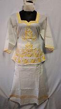 Women Clothing African Dashiki Skirt Suit Attire Off White Free Size Print #9316