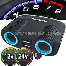 Energizer 12v 24v 2 Manera Socket Múltiples Encendedor de Coche Cargador Adaptador USB Doble -50504