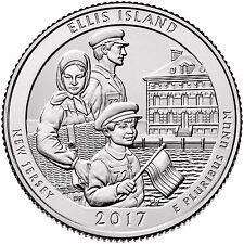 """2017 ELLIS ISLAND, NEW JERSEY """"ATB"""" NATIONAL PARK QUARTER P/D/S 3-COIN SET UNCIR"""