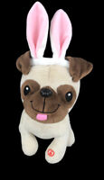 """Hallmark Plush Easter Singing Pug Puppy Dog """"Watch Me Hop, Cuz I'm A Bunny"""" 10"""""""