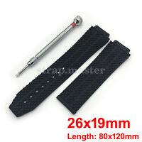 26mm Black Rubber Watch Band Extra Long + Tool for Hublot Fusion F1 Big Bang Man