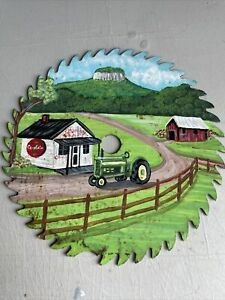 old painted saw blade
