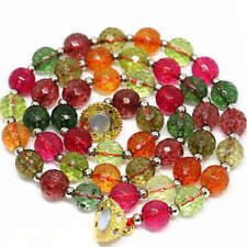 Natural! 10mm Faceted Multicolor Gemstone tourmaline Necklace 18'' AAA++