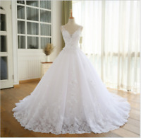 Wedding Dresses Beaded Appliques Beach Boho Bridal Gown V-Neck Sleeveless Custom