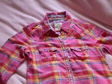 Hollister Small Pink Blue Check Shirt Small S long sleeves light cotton