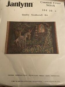 Janlynn Cross Stitch Kit - Unicorn in Forest #112 72 (1989)