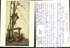 264565,Künstler Ak Berta Hummel 4926 Mai Mädchen betet Marterl Wegkreuz Vogtel B